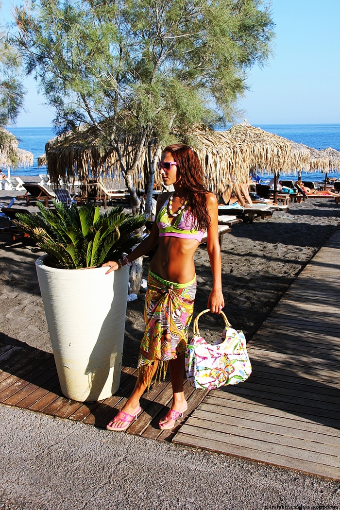 pink and green floral bikini styled look with scarf purse mules