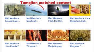 Tampilan Match Konten Pada situs yang telah memenuhi syarat