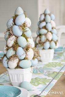 centro tavola di pasqua con uova di polistirolo