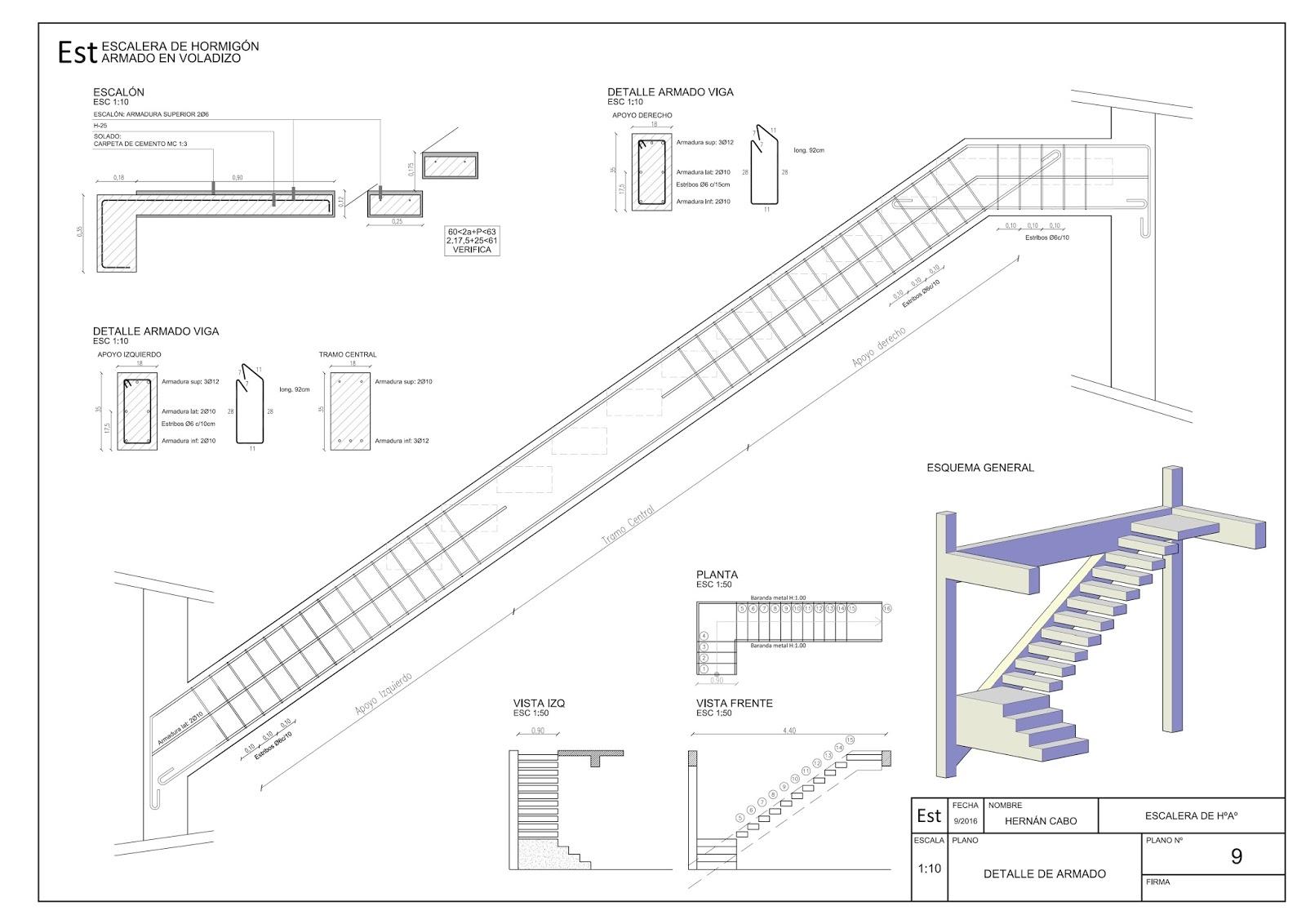 Detalles constructivos cad escalera de h a con escalones for Planos de escaleras de concreto armado