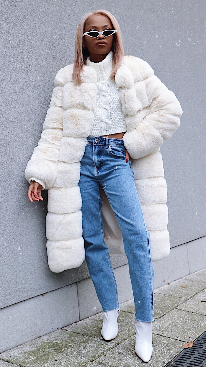 what to wear with jeans : knit sweater + fur coat + boots