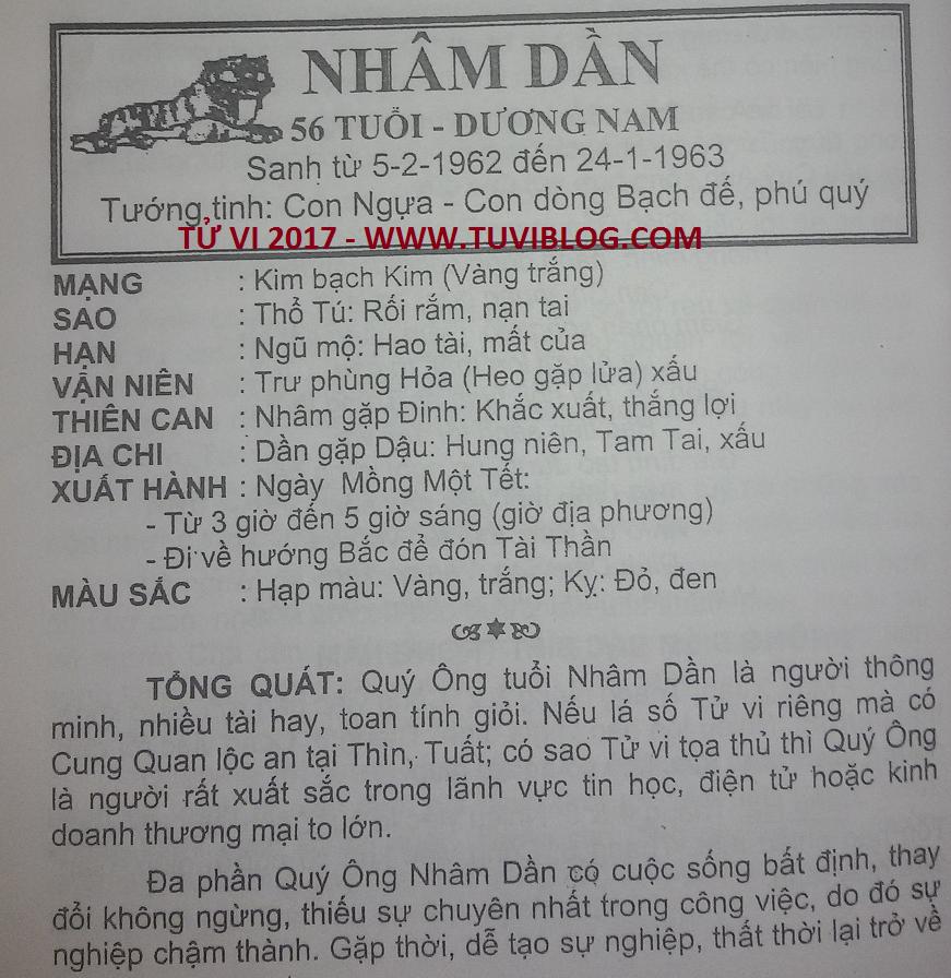 Tu vi Nham Dan 1962 nam 2017
