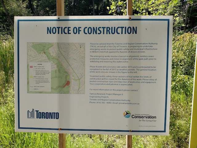 Wilket Creek stream restoration Toronto Ontario erosion control sign