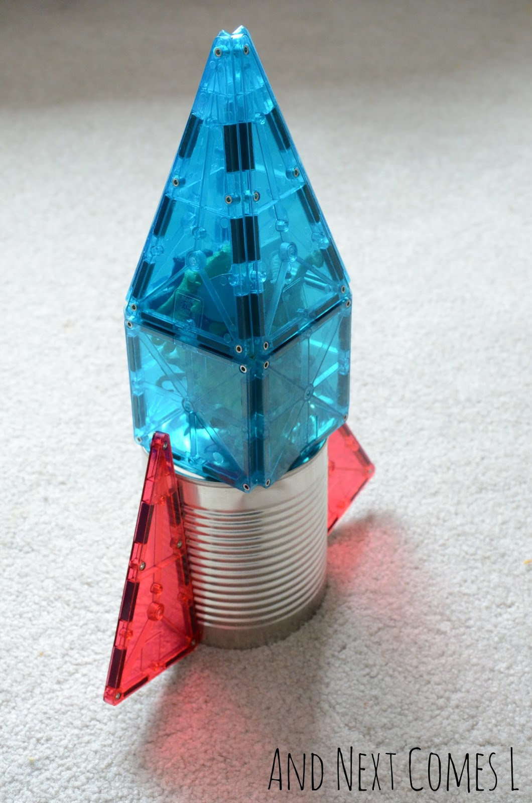 A rocket made from a tin can and Magna-Tiles from And Next Comes L