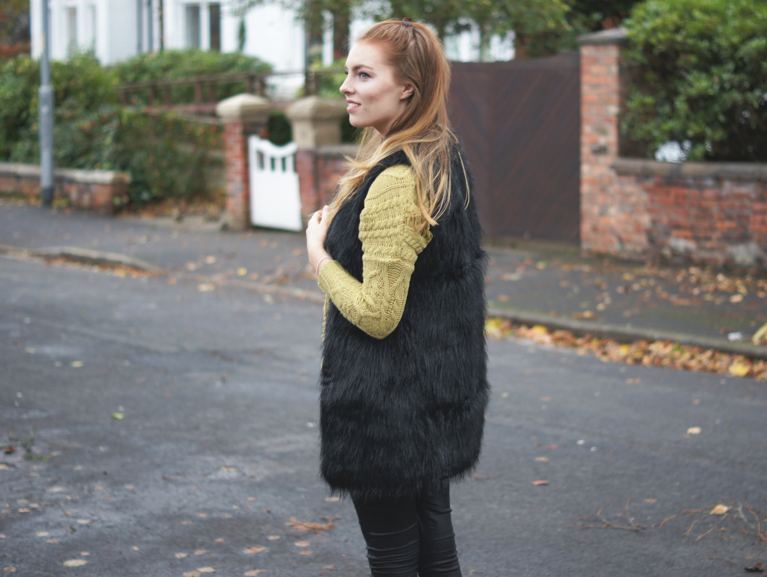 black faux fur gilet boohoo