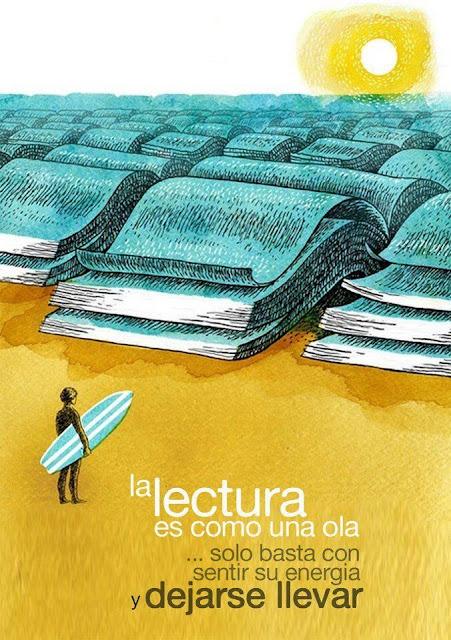 Meme sobre la lectura y las olas