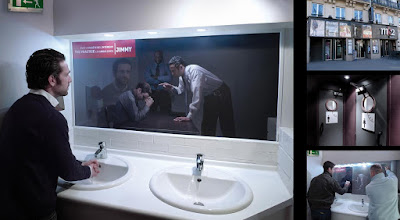 TV Channel Bathroom Advertisement