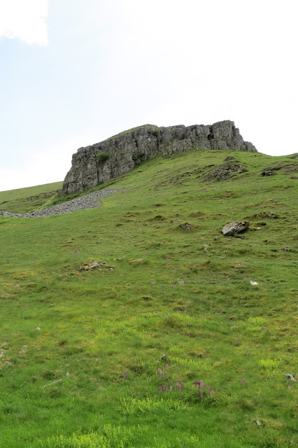 A view uphill to a large limestone outcrop, seen against the sky.