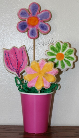 Kid Painted Flower Cookies For Mother's Day Spring