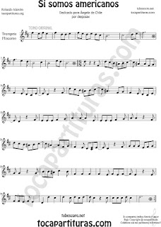 Trompeta y Fliscorno Partitura de Si Somos Americanos Sheet Music for Trumpet and Flugelhorn Music Scores