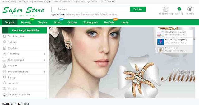 Template blogspot bán hàng Super Store