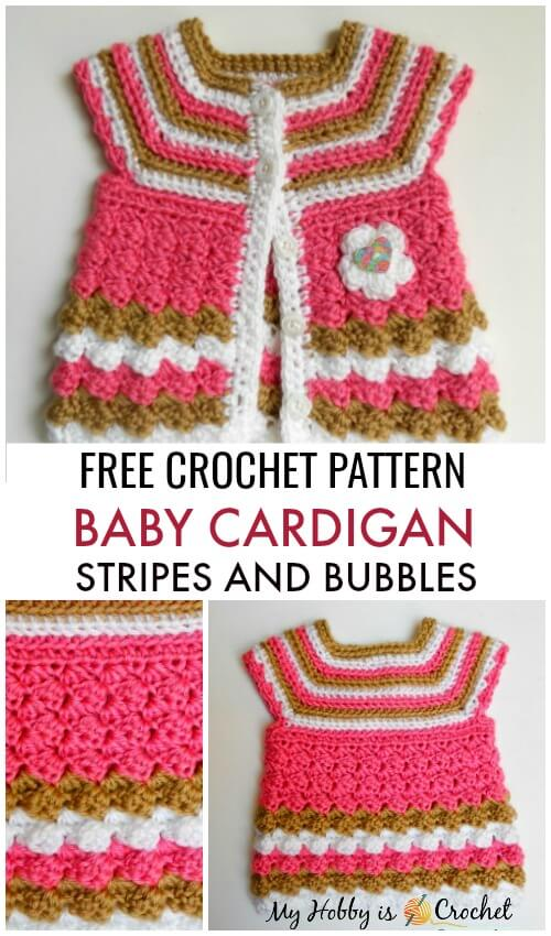 Stripes and Bubbles Baby Cardigan - Free Crochet Pattern