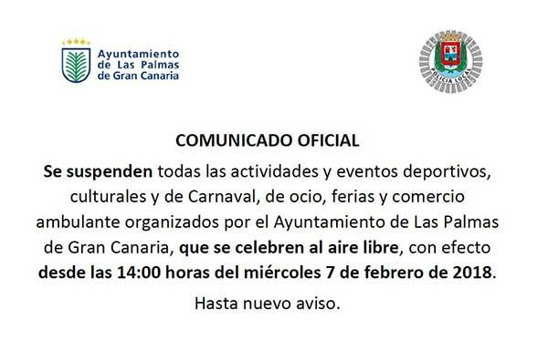Suspendidos actos de carnaval y otras actividades en Las palmas de Gran Canaria