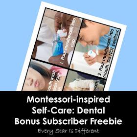 Montessori-inspired Self-Care: Dental Bonus Subscriber Freebie-How to Use Mouthwash