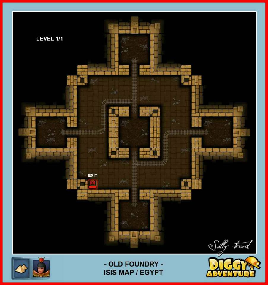 Diggy's Adventure Walkthrough: Egypt Isis / Old Foundry