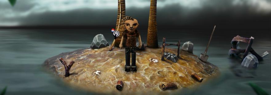 El protagonista en una pequeña isla.