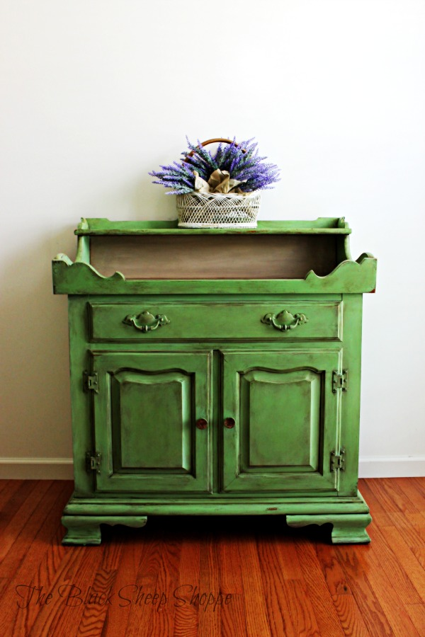 Tell City storage cabinet with dry sink. Painted in Antibes Green chalk paint.