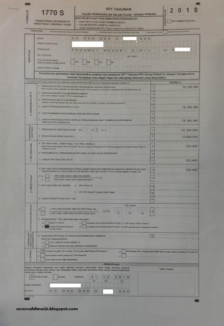 contoh Formulir SPT Tahunan