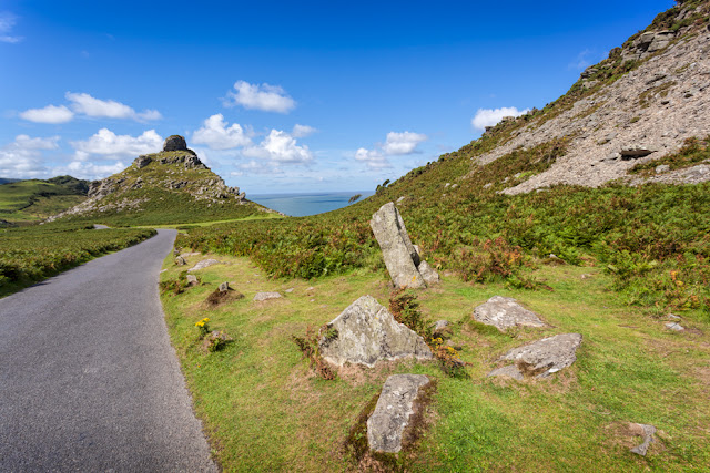 View towards Castle Rock at the Valley of Rocks in Exmoor by Martyn Ferry Photography