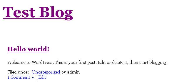 Minimal WordPress theme index page