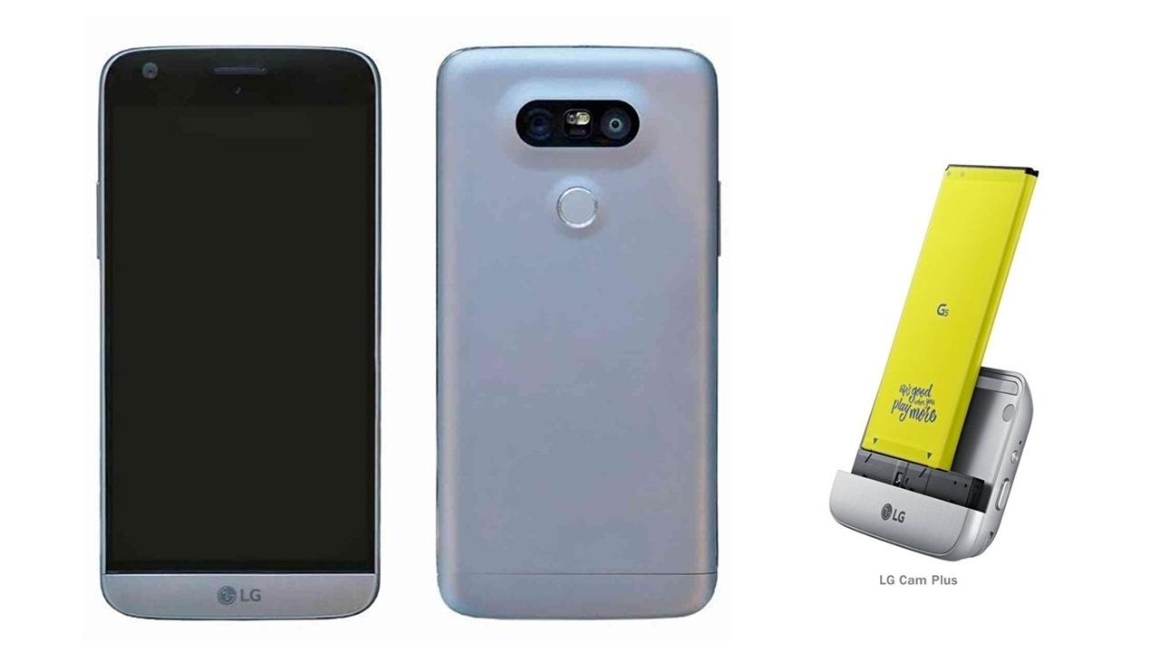 Frente e verso do smartphone LG G5 e modulo Cam Plus 0ea91c7613