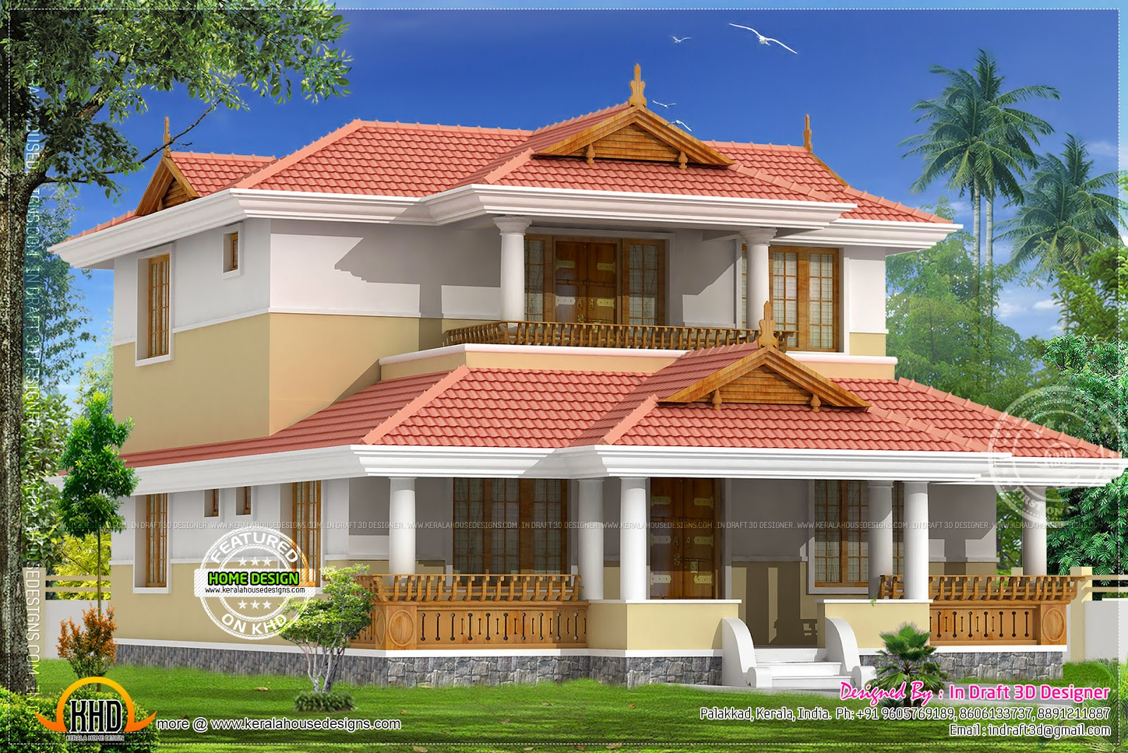 Beautiful traditional home elevation kerala home design for Kerala 3d home floor plans