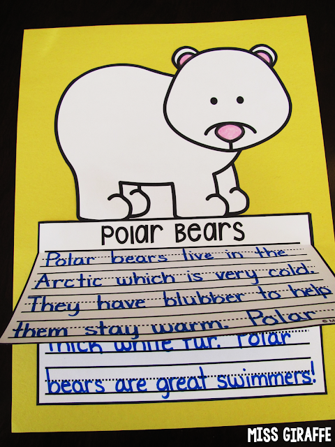 Polar bears writing craft that's no prep - kids write about penguins, color, cut, and glue for a perfect winter bulletin board