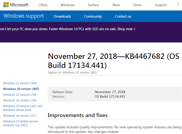 Pagina sito web Windows support di Microsoft