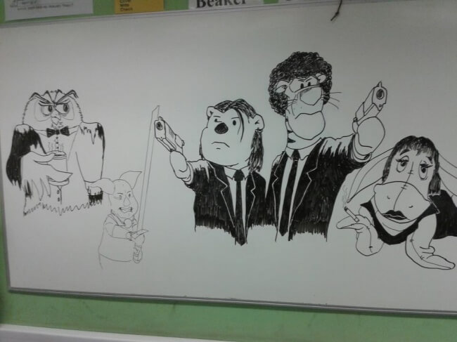 16 Inspiring Photos Prove That Teachers Can Have A Great Sense Of Humor - The teacher drew that on the board while we had a test.