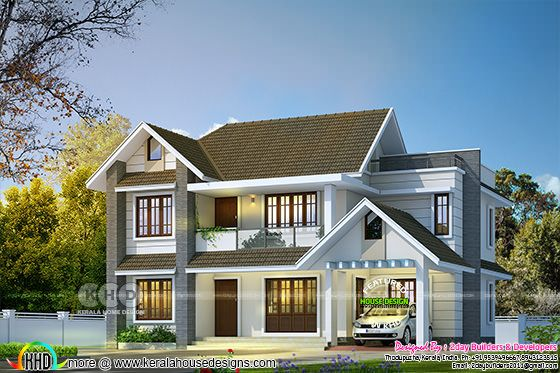 2150 square feet 4 bedroom sloped roof Kerala villa design