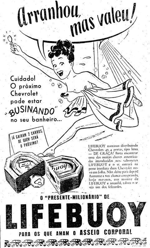 Propaganda do Sabonete Lifebuoy no final dos anos 40 com promoção de distribuição de automóveis para os clientes