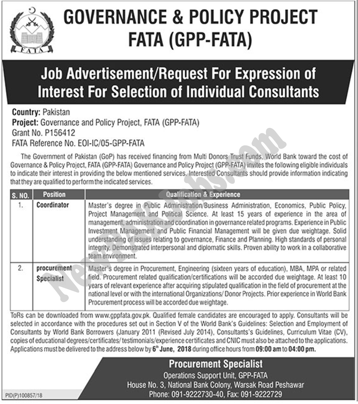 Latest FATA Jobs 2018 under Governance & Policy Project