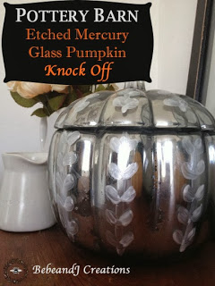 Pottery Barn Knock-Off Etched Glass Mercury Pumpkin | #halloween #diy #knockoff #pumpkins