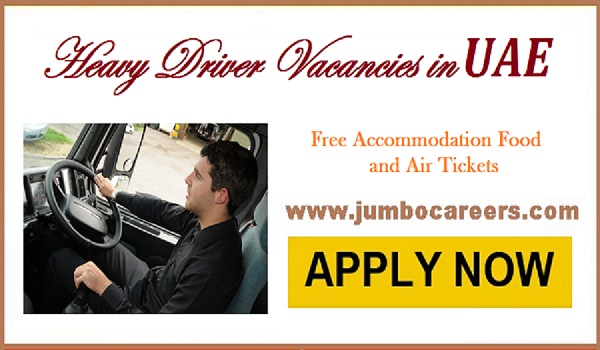 Recent drivers job opportunities in UAE, Gulf job openings latest 2018,