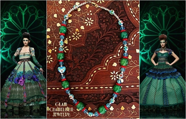 Glam Chameleon Jewelry heart shaped blue cloisonne bead green jade necklace