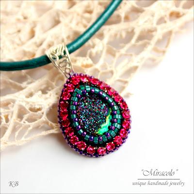 wisiorek z agatem druzy, agate druzzy pendant