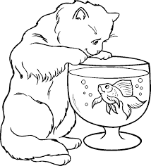 Cute Cat Eating Fish On Aquarium Coloring Pages Animals