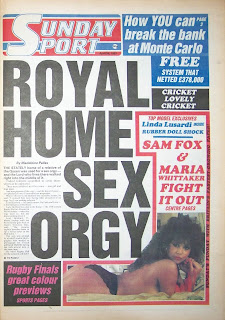 Front page of the Sunday Sport newspaper from 26-April-1987