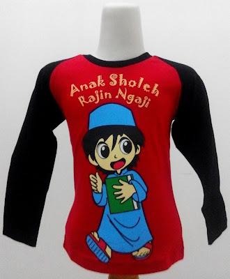 Kaos Raglan Muslim Anak Sholeh Rajin Ngaji 1 Merah