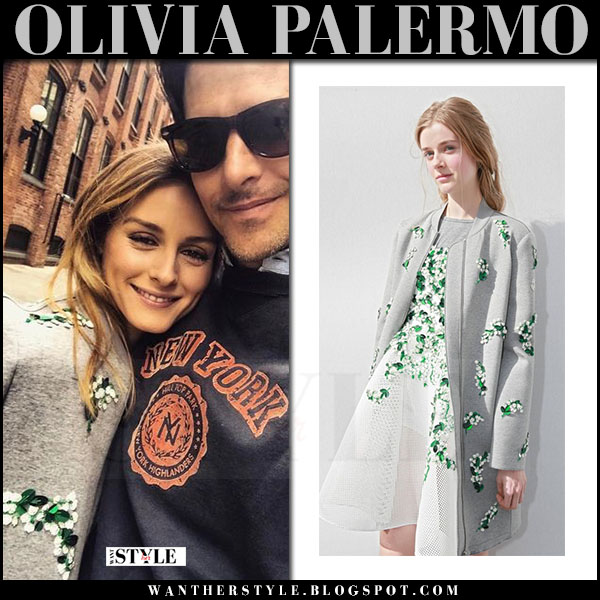 Olivia Palermo in grey floral embellished coat moncler what she wore april 2017 isntagram outfit