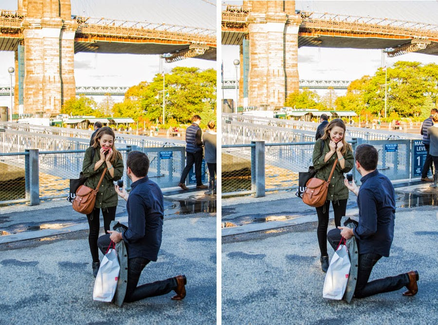Proposing under the Brooklyn Bridge at sunset - www.cassiecastellaw.com