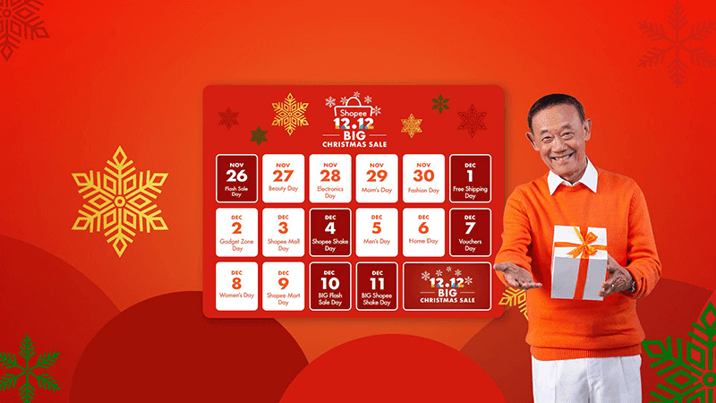 The Shopee 12.12 Big Christmas Sale is on going