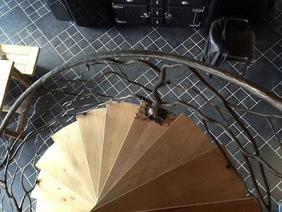 Escalier, colimaçon, fer forgé, rampe, rambarde, garde-corps