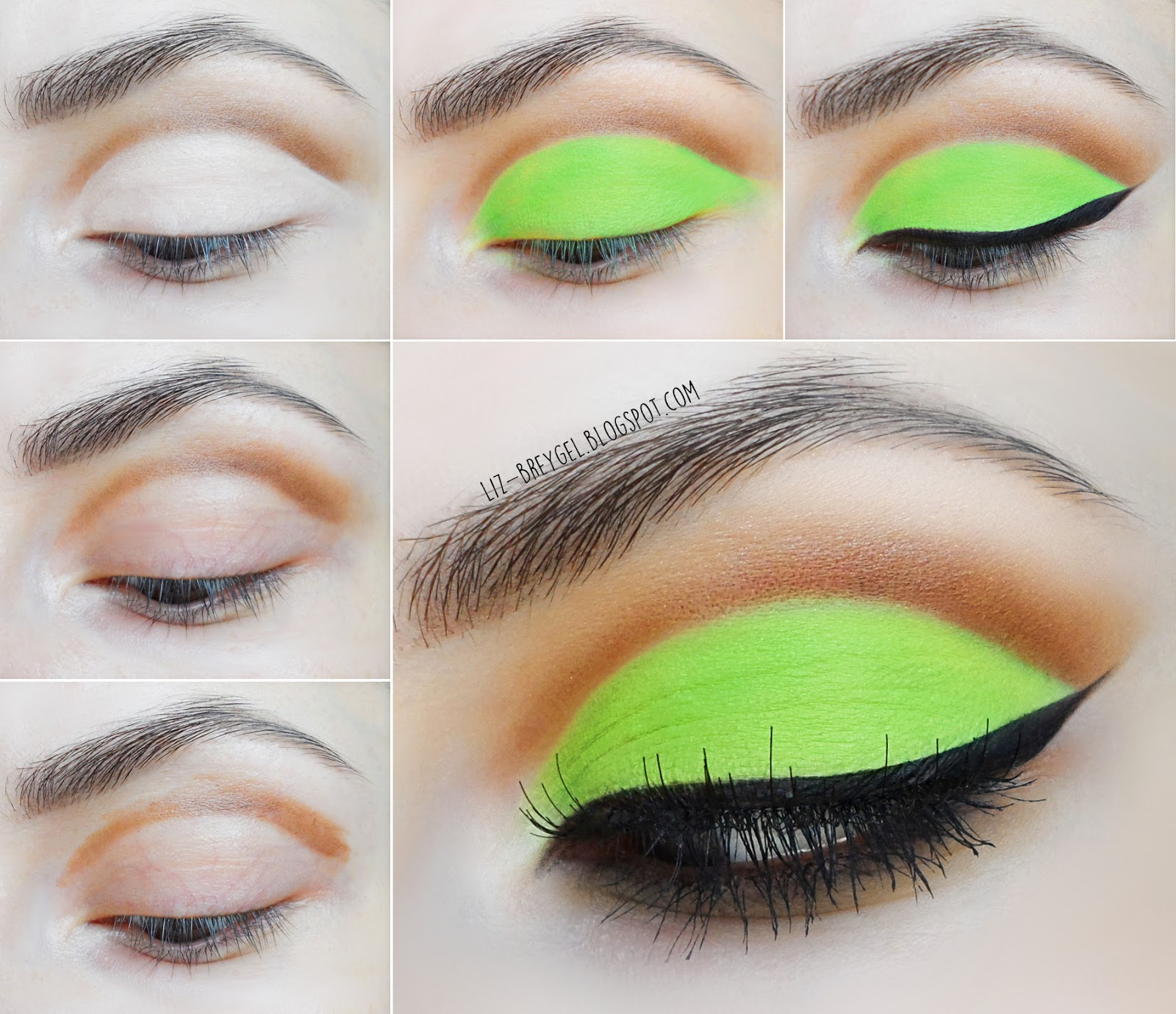 liz breygel blogger makeup bright matte green step by step tutorial cat eyeliner pictures