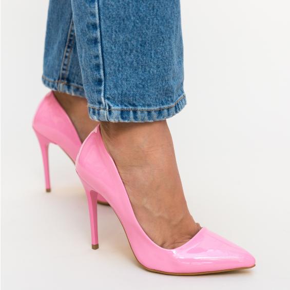 Pantofi roz piele lacuita eleganti de ocazii cu toc inalt