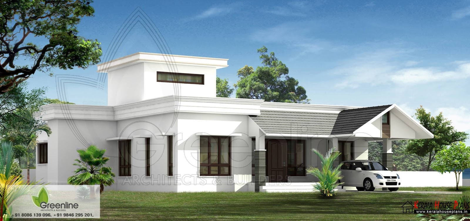 Kerala house Elevation and Photos in 1500 sqft side elevation