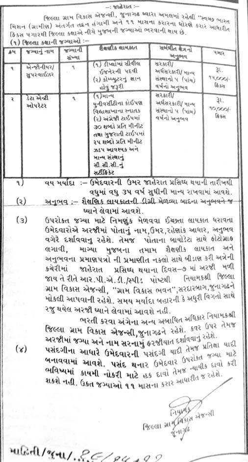 DRDA Junagadh Recruitment Various 2016