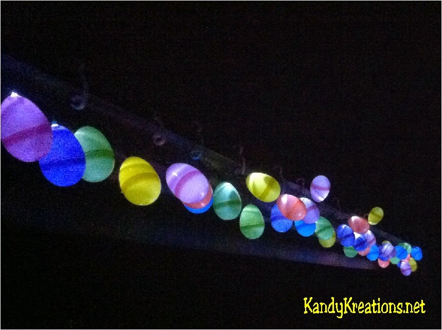 Decorate the front of your house with a set of Christmas lights and old Easter hunt eggs.  You'll have a beautiful and cheap Easter decoration your family and neighbors will love!