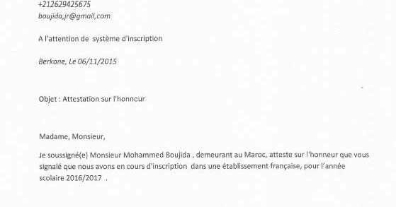 Exemple D Une Attestation Sur L Honneur Pour Crous Etudier En France