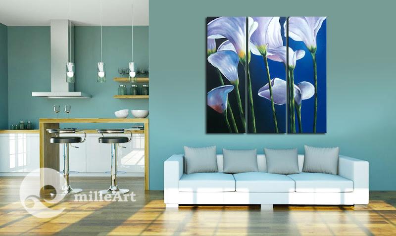 mockup lukisan bunga lily putih